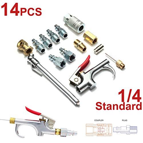 14 unids 1/4 pulgadas hierro cobre compresor de aire soplador herramienta Kit Chuck conector acoplador...