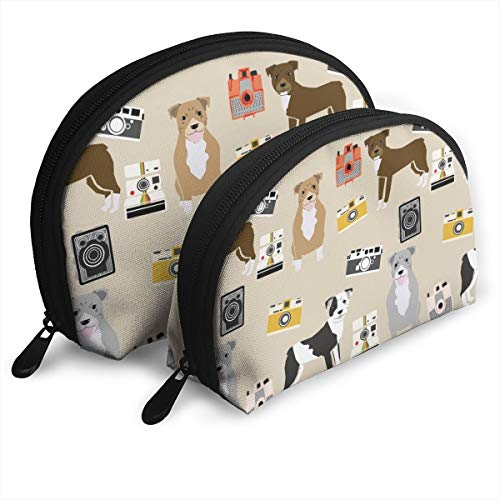 Pitbull Camera Dog Breed Photographer Tan Travel Cosmetic Storage Assorted Portable Bags Clutch Pouch Gift 2Pcs for Women