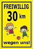 Melis Folienwerkstatt Schild - Freiwilllig 30 km/h - 45x30cm | Bohrlöcher | 3mm Hartschaum - S00040-010-C - 20 Varianten