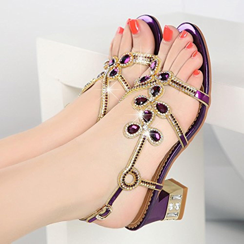 LGK&FA Zapatos De Moda Sandalias En Verano Con Cómodos Verano En Roma Boca De Pescado Fashion Diamante 38 Púrpura