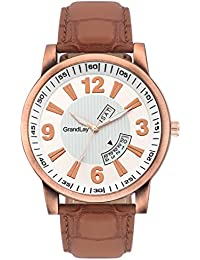 GRANDLAY MG-3069 ORANGE DIAL WITH DATE AND TIME AUTHENTIC WATCH FOR MENZ (Brown) (Brown)