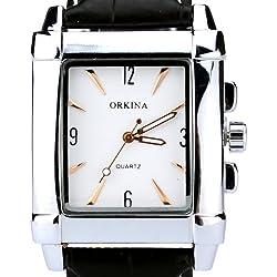 Orkina Elegant Rectangular Silver Case White Dial Quartz Leather Strap Wrist Watch W150-S