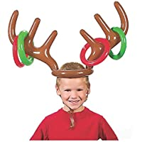VEYLIN Christmas Party Inflatable Reindeer Antler Ring Toss Xmas Fun Game for Kids All Family