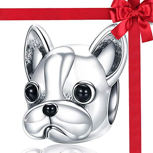 925 Sterling Silber Charme,Französisch Bulldog Bead Charms Mode Tier Perlen fit Frauen Charme Armbänder Hund Schmuck Zubehör Beste Geschenk (Armband-charme-hund)