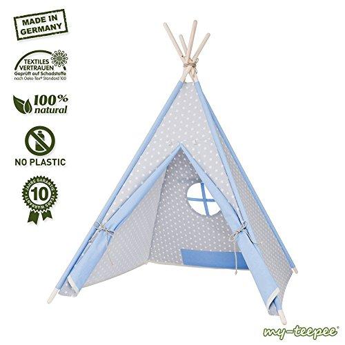 Spielzelt für Kinder, schadstofffreies Material, Holzstangen Aspe natur, Bezug 100 % Baumwolle Ökotex 100, Höhe ca. 150 cm, mit verschließbarem Fenster, grau / blau mit Sternen
