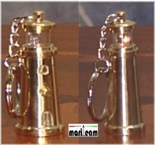 Schlüsselanhänger Messing-Leuchtturm mit Licht -