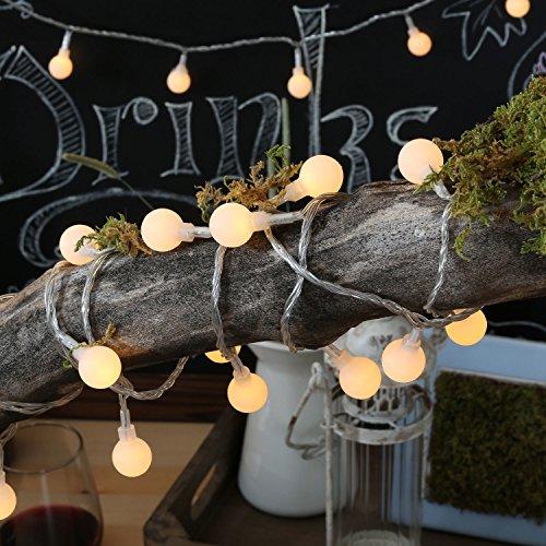 Uping Lichterkette 10M 100 LED Globe Bälle EU-Stecker mit DC 31V Niederspannungstransformator und 8 Programm für Party, Garten, Weihnachten, Halloween, Hochzeit, Beleuchtung Deko in Innen und Außenbereich usw. Wasserdicht warm weiß