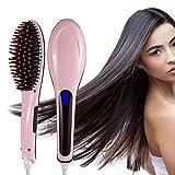 Fast Hair Glätteisen LCD Bürste elektrisch Heizung Haar Glättung Keramik Entwirren Kamm Digitial LCD Anion Hair Care Anti-Verkalkung Haarbürste
