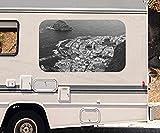 3D Autoaufkleber Meer Teneriffa Spanien Wasser schwarz weiß Wohnmobil Auto Fenster Motorhaube Sticker Aufkleber 21A522, Größe 3D sticker:ca. 45cmx27cm