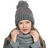 DonDon Damen Wintermütze Strickmütze gefüttert warm und weich mit Bommel grau-rosa-türkis