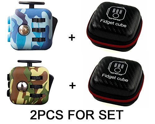 2pcs/set New Fidget Cube Anxiety Stress Relief Focus Toys Gift Camouflage Blue Army Green Puzzle Cube