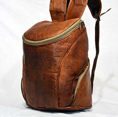 Preisvergleich Produktbild Herren Vintage Goat Leder Rucksack Reise über Nacht Weekend Rucksack aus Indien