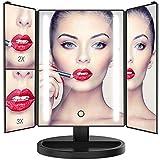 Bestope miroir maquillage LED cosmétique trifolié éclaié, 24 lampes Led miroir lumière pliable 1X/2X/3X magnification 180°réglable avec dépenser énergie par batterie et USB cable Noir
