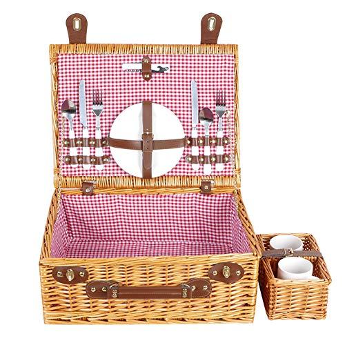 LXS Picknickkorb für 4/2 Personen, Deluxe-Service für 4/2 Personen, Willow Picknickset mit Essenskühler, Picknickdecke und Geschirr Picknickkorb aus Naturgeflecht -