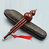 ammoon Chinese Handmade Hulusi Resin Gourd Cucurbit Flute Ethnic Musical Instrument with Case Key of C for Beginner Music Lovers as Gift