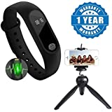 Drumstone Heart Rate Monitor Bluetooth Health Fitness Tracker Smart Band With 228 Mini Tripod Stand For Action Cameras / Photo Cameras / Smartphones Compatible With Xiaomi, Lenovo, Apple, Samsung, Sony, Oppo, Gionee, Vivo Smartphones (One Year Warranty)