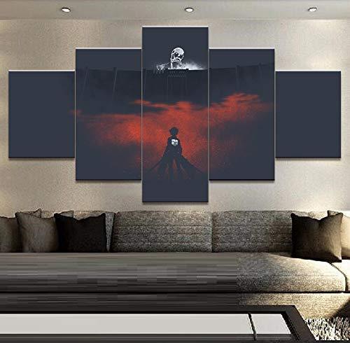 HOMOPK 5 Stücke Malerei Modulare Tapete HD Druck Auf Leinwand Wandkunst Wasserdicht Poster Bad Wohnzimmer Wohnkultur Bild Titan Anime angreifen B,Rahmen