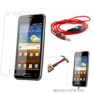 Qualitas Pack of 4 Tempered Glass for SAMSUNG GALAXY S3 i9300 + 3.5mm Flat AUX Cable with Mic