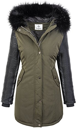 Rock Creek Damen Jacke Winter Parka Bikerjacke Winter Mantel Outdoorjacke Damenmantel Damenparka Kunstleder Ärmel Kunstpelz Kapuze D-347 Grün Schwarz XL