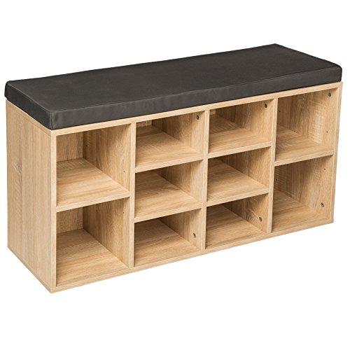 TecTake Estantería zapatero de madera con banco sólida taburete estantes calzado 103,5x48x30cm roble
