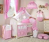 Ensemble parure de lit 14 pièces rose et blanc linge de lit bébé gigoteuse nid d'ange tour de lit 60x120cm