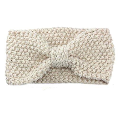 Sanwood Damen Häkelarbeit Schleife Design Stirnband Winter Kopfband Haarband (Weiß)