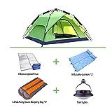 CLDBHBRK Campingplane Falten Sie Das Doppelzelt Regenfest Doppeltüren Draussen 3-4 Personen Sonnenblende Anti-UV Seil Ziehen Tragbar Schnell Geöffnet Vier Jahreszeiten Tented,Green,D