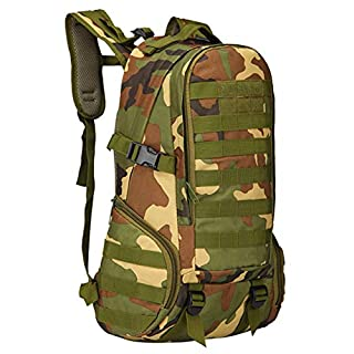Amtop Waterproof Oxford Nylon Backpack 3p 35L Military Outdoor Backpack Sports Bag for Travel Camping Climbing Hiking Cycling CS Wargame (Camo)