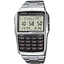 CASIO Collection DBC-32D-1AES - Reloj de caballero de cuarzo, correa de acero inoxidable color negro (con cronómetro, alarma, luz)