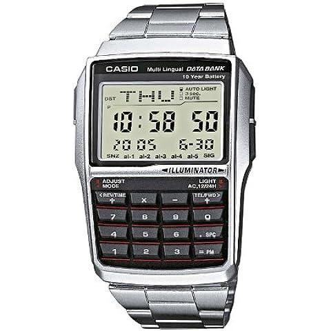 CASIO Collection DBC-32D-1AES - Reloj de caballero de cuarzo, correa de acero inoxidable color negro (con cronómetro, alarma,