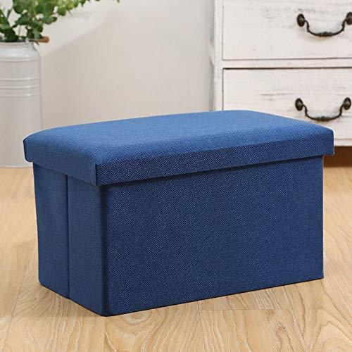 Funlea Großes Quadrat Faltbare Lagerung Ottomane Rest Bank Tuch Stoff Material Haushalt Klappsofa Hocker Sitz Wohnzimmer Erwachsene Waschbar Hocker, L40 × B25 × H25CM (Color : Blue) -