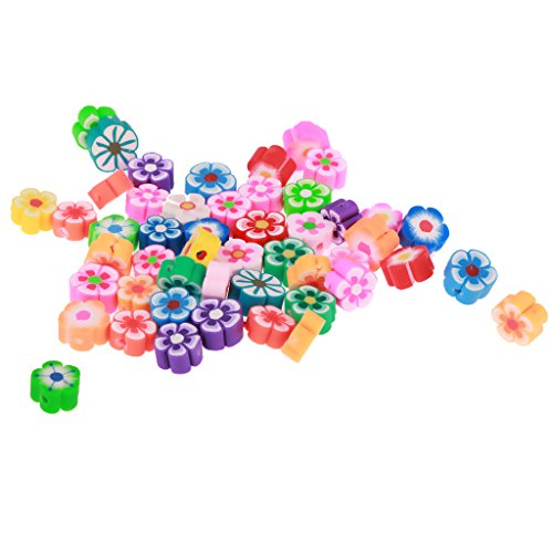 MagiDeal 50pcs Runde Blume Polymer Kugeln Acryl Spacer Perlen Beads Für Schmuck Machen - Farbe 1, 8mm*1mm
