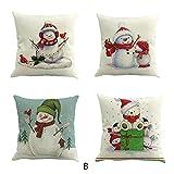 TWIFER 4 STÜCK Weihnachten Baumwolle Leinen Sofa Car Home Taille Kissenbezug Dekokissen Fall (B, 45X45cm)