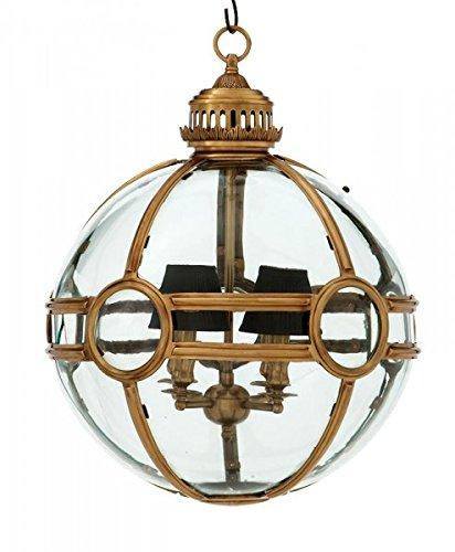 Casa Padrino Luxus Laterne - Luxus Gealterten Messing Hängeleuchte Durchmesser 50 x H 60 cm