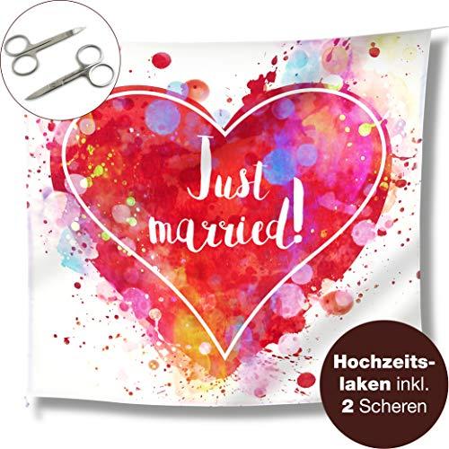 sherz zum Ausschneiden und 2 Scheren - Just Married Hochzeitslaken - Spiel für das Brautpaar - Fotomotiv Deko (Farbenfroh) ()