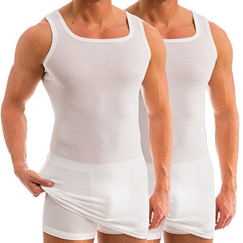 HERMKO 16027 2er Pack Herren extralanges Unterhemd aus Baumwolle/Modal, Farbe:weiß, Größe:D 6 = EU L - Modal-unterhemd
