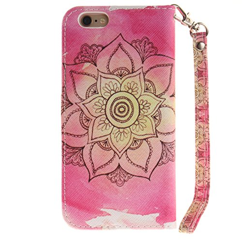 iPhone 6S Hülle, iPhone 6 Hülle, ISAKEN iPhone 6S 6 Hülle Muster, Handy Case Cover Tasche for iPhone 6S / 6, Bunte Retro Muster Druck Flip Cover PU Leder Tasche Case Schutzhülle Hülle Handy Tasche Etu Pink Blume