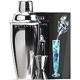 Nuvantee - Set da Cocktail Shaker con Filtro Integrato, Misurino e Cocktail di Ricette, Argento
