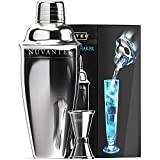 Nuvantee - Set da Cocktail Shaker con Filtro Integrato, Misurino e Cocktail di Ricette, Argento