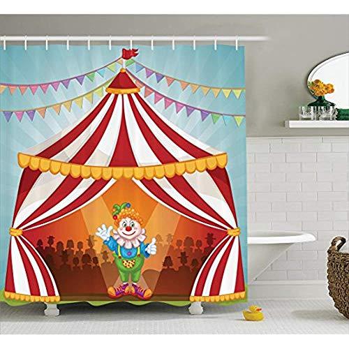 yeuss Circus Decor Kollektion, Cartoon Clown im Zirkus Zelt Fröhliche Kostüm Funny Entertainer Polyester-Design, voller Freude-Badezimmer Dusche Vorhang, Set mit Haken, rot blau gelb grün 66