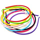 PARKONN Multi-colour Neon Daily Use Super Sleek Plane Plastic Hair Bands For Girls And Women (Set Of 12 Hair Bands)
