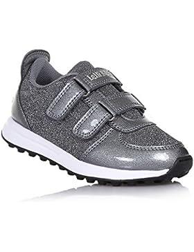LELLI KELLY - Zapato gris de tejido con glitter y charol, con cierre de velcro, logo en el cierre, Niña, Chica