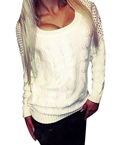 ZANZEA Damen Langarm Hohl Dünne Jumper Pullover Sweatshirt Strickwaren Oversize Tops Beige EU 38/Etikettgröße M (Hohl Langarm)