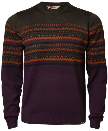 Tokyo Laundry Herren Strickjacke Pullover Fair Isle Muster IA2696 khaki/violett Gr. XL