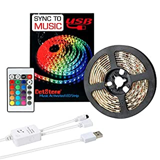 LED Strip Lights Sync Music 6.6FT/2M 5V USB Powered Light Strip 5050 RGB Light Color Changing with Music IP65 Waterproof LED String Lights Kit with IR Controller by DotStone