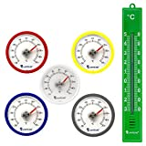 5 Stück Set Rundes Bimetall Analog Klebe Kühlschrankthermometer - Kühlschrank Thermometer Temperatur Anzeige + / - 50 °C - Kunststoff Farbe blau , weiß , rot , silber , gelb