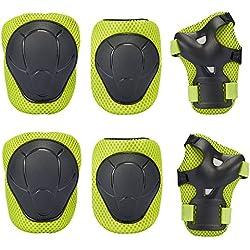 Niños protectores Set de protección–Niño 's–Rodilleras Coderas–Muñequeras para roller patinaje monopatín Ciclismo, niño, verde