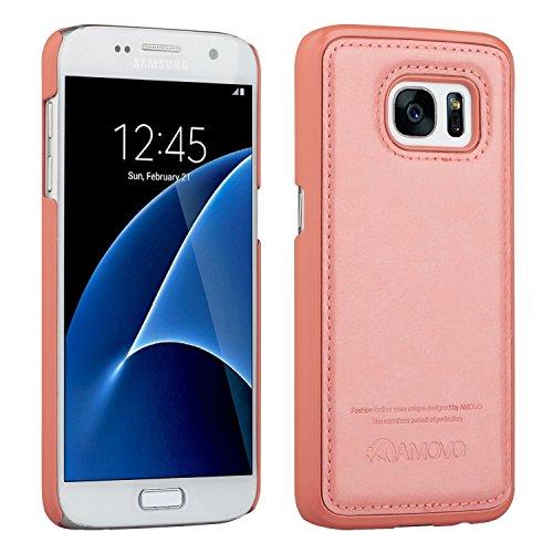 AMOVO Galaxy S7 Ledertasche, Samsung Galaxy S7 Hülle [Abnehmbare Brieftasche] [2 in 1] [Premium Leder] Samsung S7 Lederhülle mit Geschenk-Paket (Galaxy S7, Rot) Pink