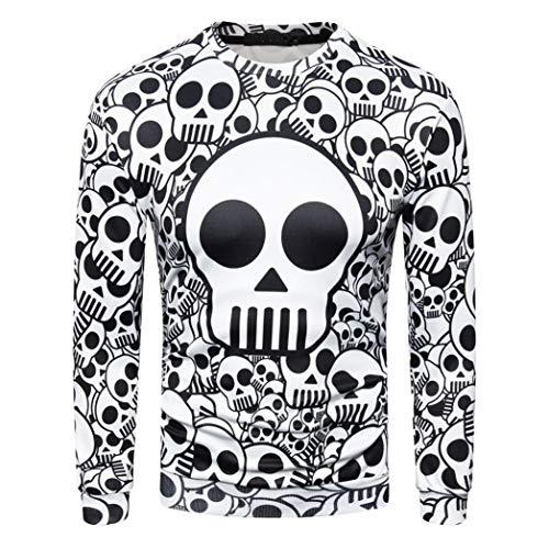 MRULIC Herren Pullover Herbst Pullover Shirt Top 3D Blumendruck Design Oktoberfest Halloween Kostüm(Weiß,EU-50-52/CN-2XL)