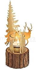 matches21 Winter Windlicht Winterwald Tannenbaum & Rehe aus Metall mit Teelichtglas auf Holzstamm Gold 1 STK Ø 8x21 cm